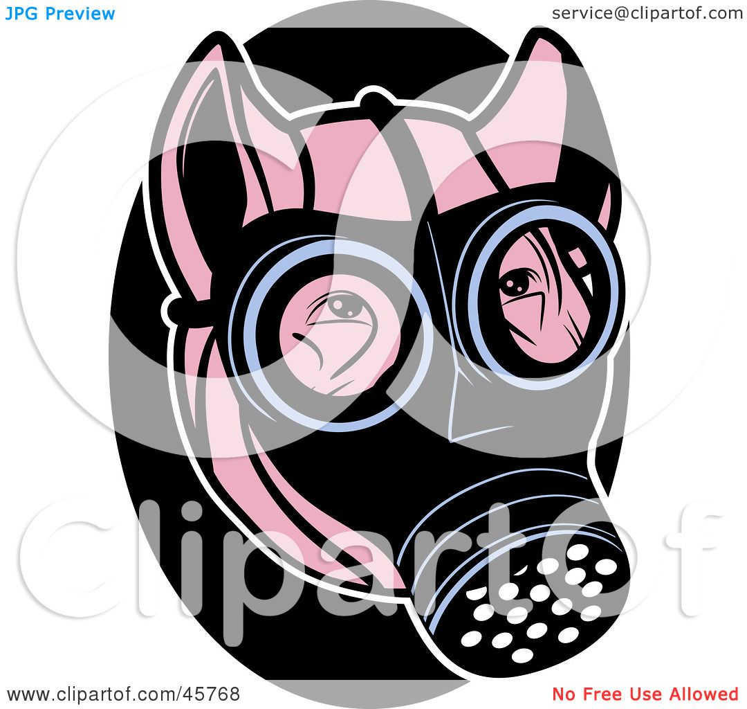 1080x1024 Royalty Free (Rf) Clipart Illustration Of A Pink Pig Wearing A Gas