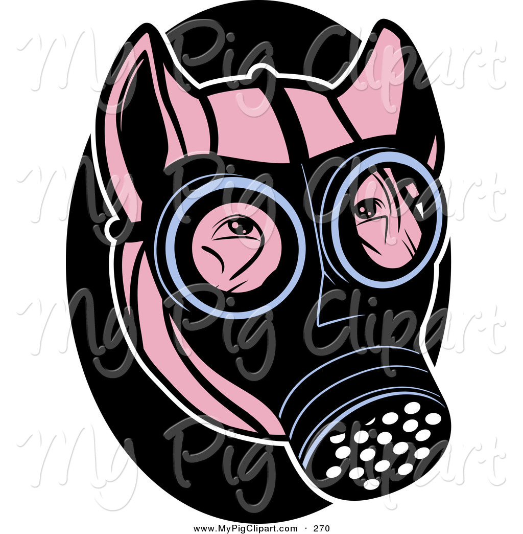 1024x1044 Swine Clipart Of A Pink Pig Wearing A Black Gas Mask On His Face