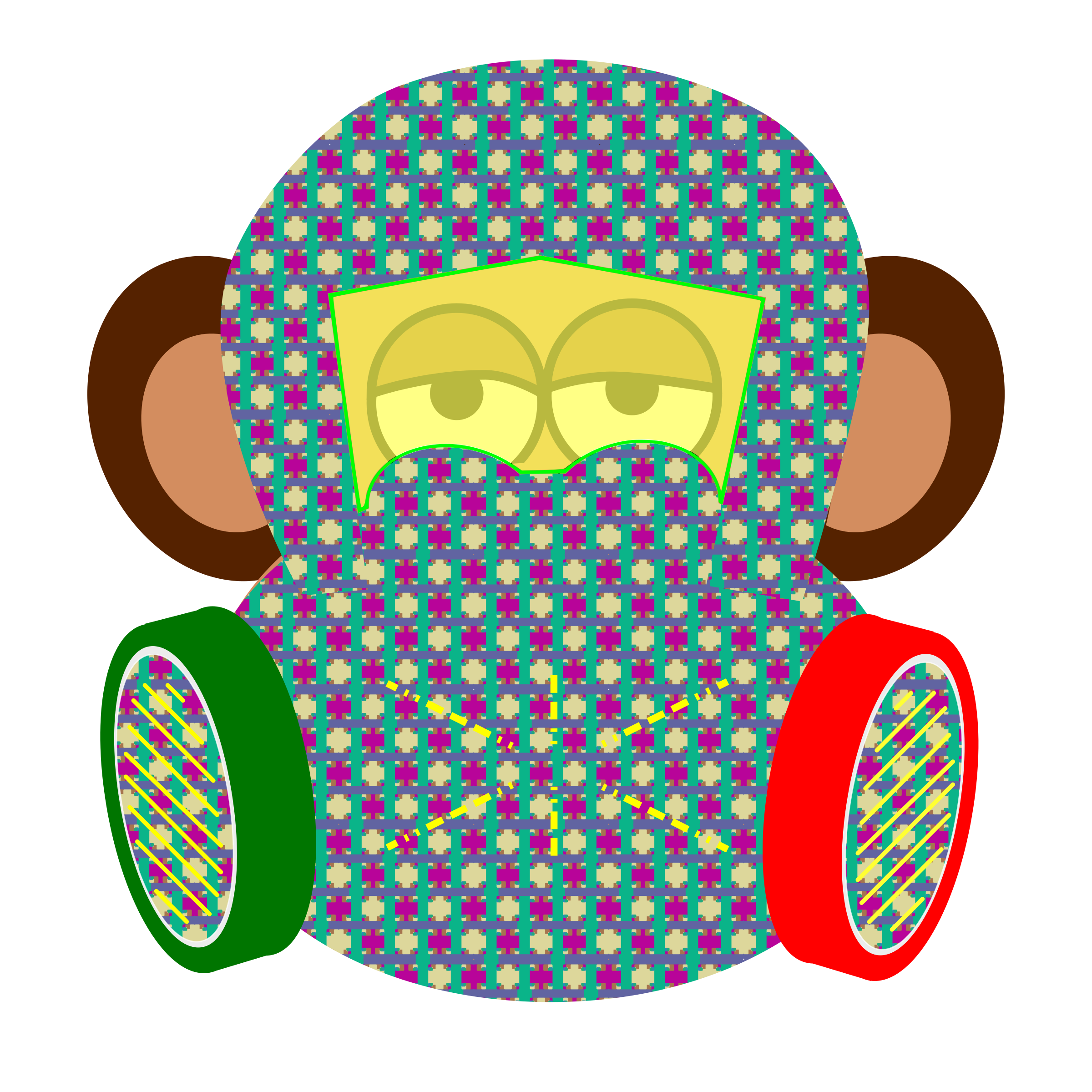 2400x2400 Monkey Wears Gas Mask With Pattern Icons Png