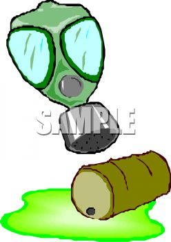 248x350 A Barrel Or Drum Of Toxic Waste Is Spilled With A Gas Mask Above