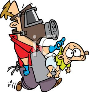 291x300 Clip Art Image A Dad Wearing A Gas Mask Taking A Baby To Change