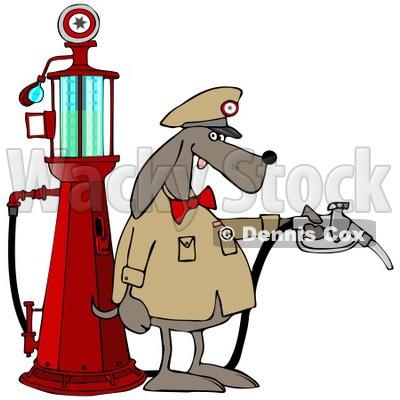 400x400 Clipart Of A Dog Attendant By An Old Fashioned Gas Pump