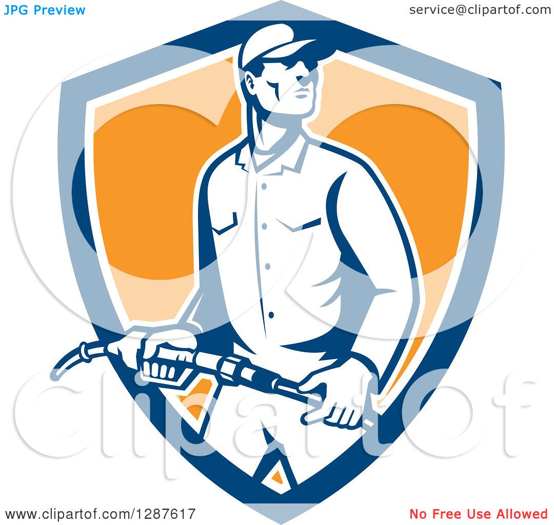 1080x1024 Clipart Of A Retro Gas Station Attendant Jockey Holding A Nozzle