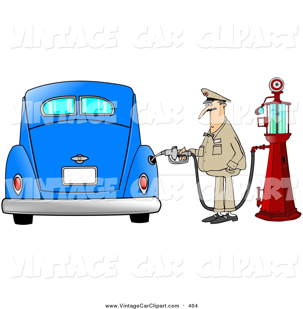 1024x1044 Clipart Of A White Male Attendant Pumping An Antique Blue Car