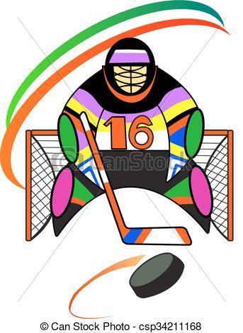 343x470 Illustration Of Hockey Goalkeeper In The Gate Clip Art Vector