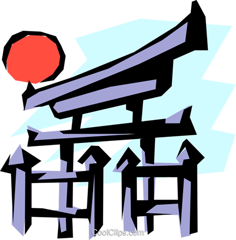 472x480 Japanese Temple Gate Royalty Free Vector Clip Art Illustration
