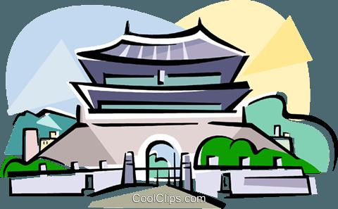 480x297 Korea The South Gate Of Seoul Royalty Free Vector Clip Art