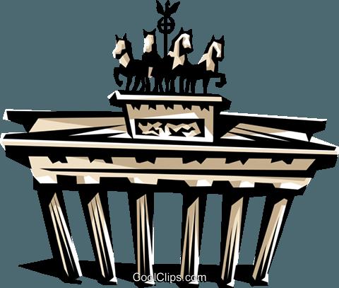 480x407 Brandenburg Gate Royalty Free Vector Clip Art Illustration