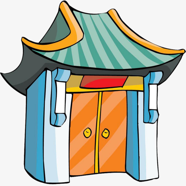 650x651 Cartoon Cemetery Gate, Temple Gate, Temple Door Part, Hand Painted