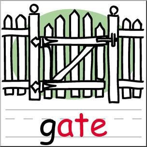 304x304 Clip Art Basic Words Ate Phonics Gate Color I