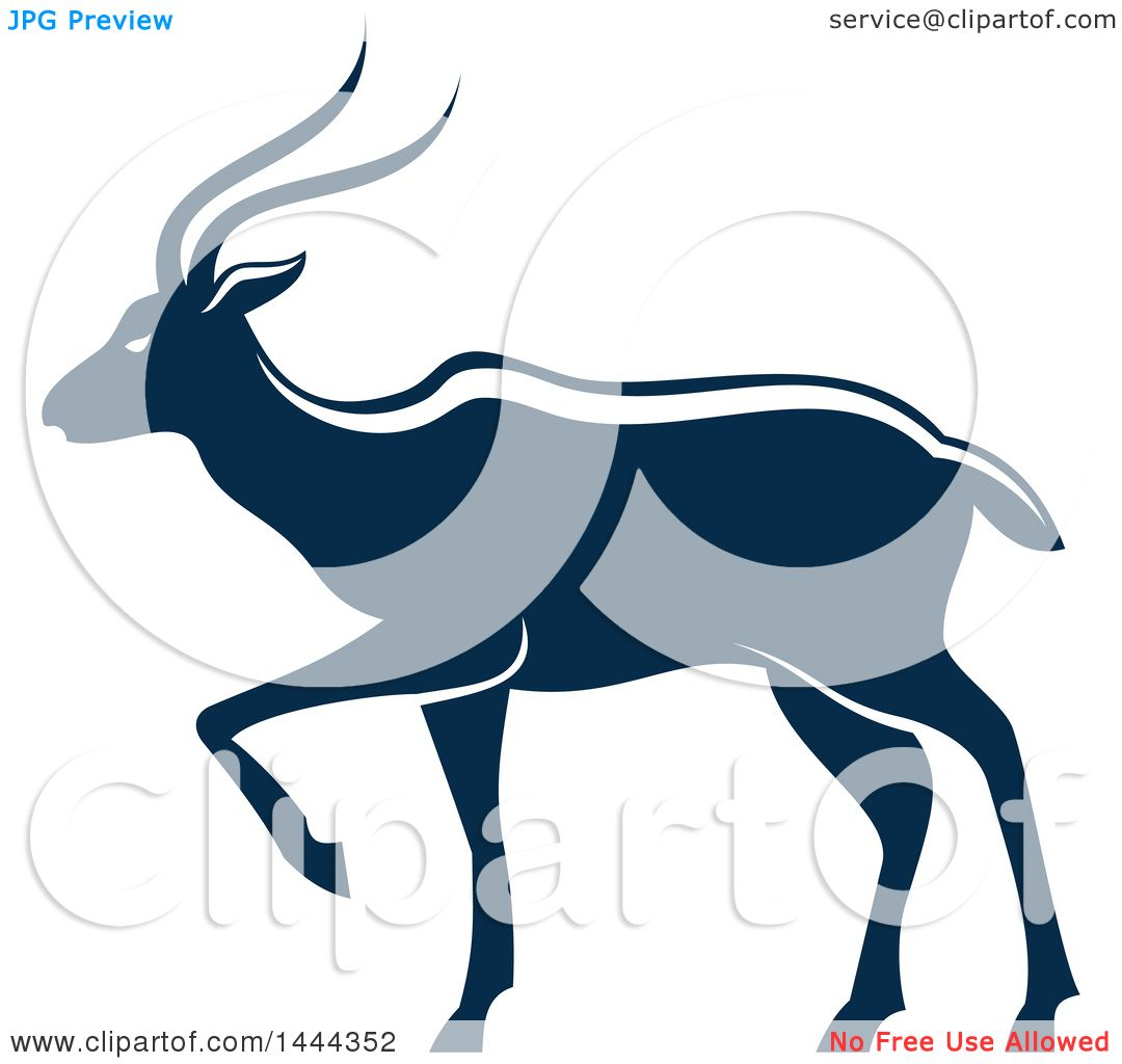 1080x1024 Clipart Of A Navy Blue Gazelle Antelope With A White Outline