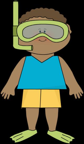 320x550 Summer Little Boy And Snorkle Gear Clip Art Clip Art