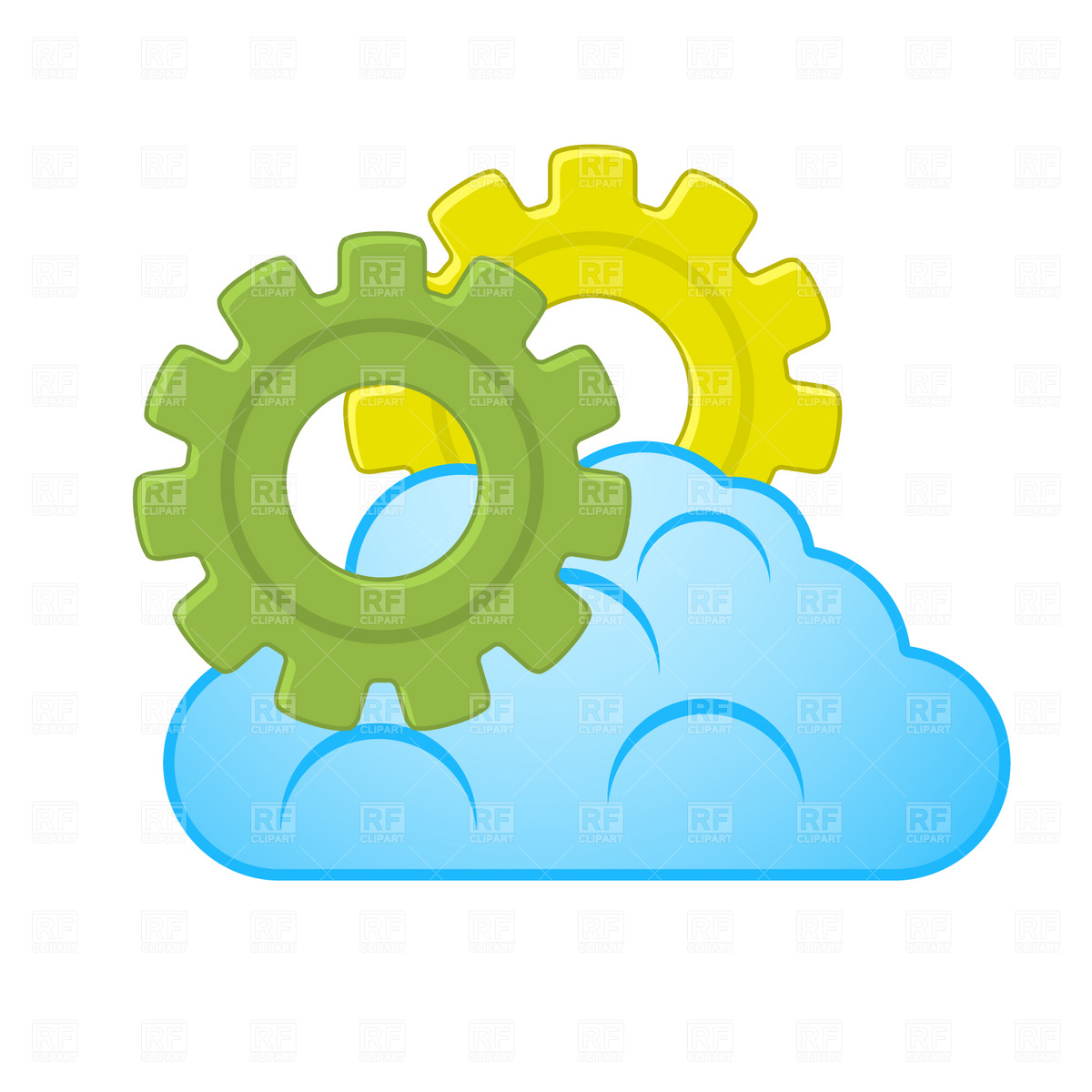 1200x1200 Cloud And Gear Royalty Free Vector Clip Art Image