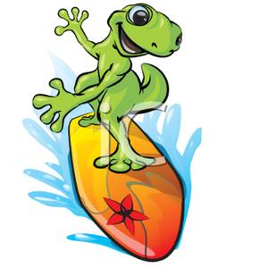 300x300 A Gecko Surfing On A Surfboard Clip Art Image