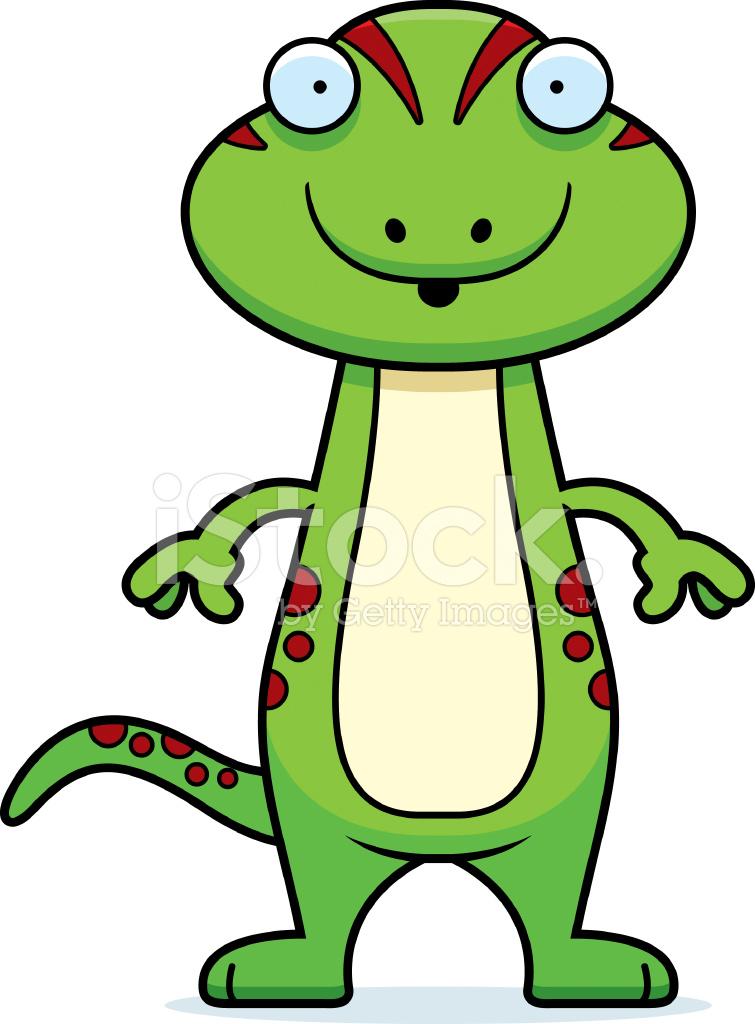 755x1024 Surprised Cartoon Gecko Stock Vector