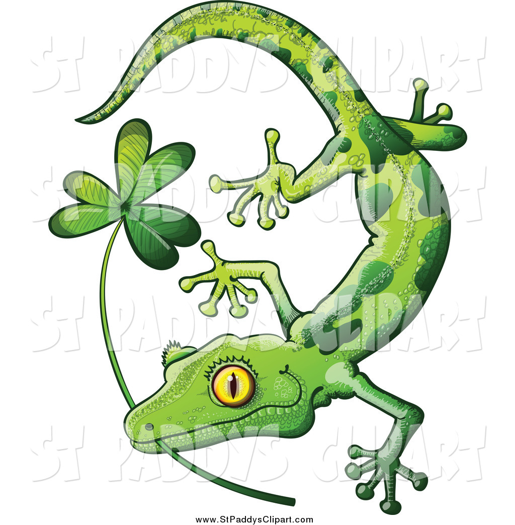 1024x1044 Vector Clip Art Of A St Paddys Day Gecko Biting A Shamrock By