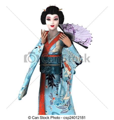 450x470 Image Of Geisha Girl. The Woman Is Cg. Stock Illustration