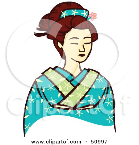 450x470 Royalty Free (Rf) Clipart Illustration Of A Pretty Geisha Woman