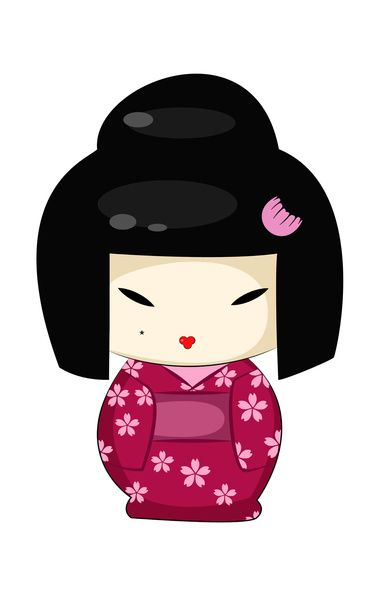 388x600 The Modern Geisha Kokeshi Doll Art Print