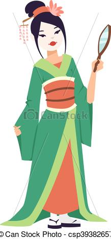 218x470 Vector Japanese Geisha Girl. Vector Kokeshi Doll Japanese