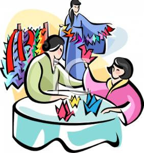 282x300 A Colorful Cartoon Of Geisha Women Making Origami