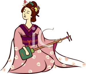 300x259 A Geisha Playing Shamisen Clip Art Image