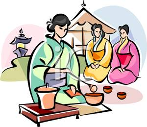 300x259 Clip Art Image A Geisha Pouring Tea For Other Geishas