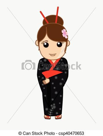 357x470 Beautiful Japanese Geisha Portrait Vector Illustration Clipart