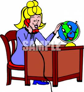 272x300 Clip Art Image A Geography Teacher Talking On The Phone