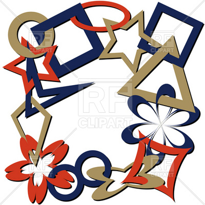 400x400 Chain Of Linked Geometric Shapes Frame Royalty Free Vector Clip