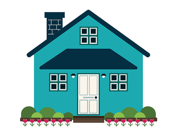 570x440 Geometric Modern House Clip Art Blue Home Front Yard Simple