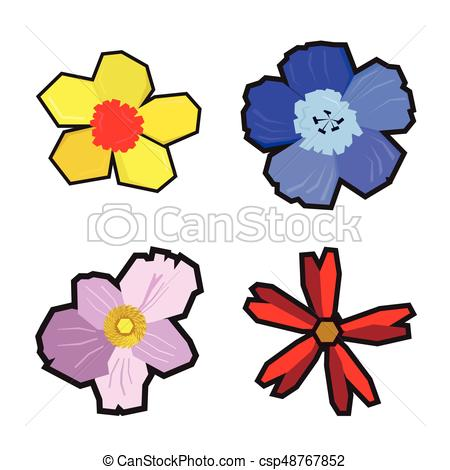 450x470 Set Of Geometric Flowers On A White Background, Vector Clipart