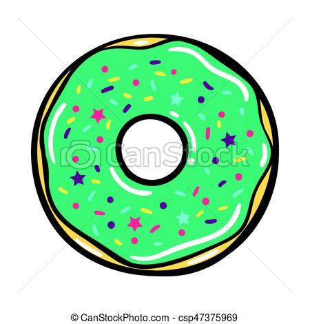 450x470 Vector Modern Flat Geometric Donut Illustration. Single Mint