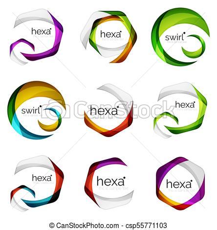 444x470 Set Of Abstract Hexagon Logos, Geometric Brand Company Vector