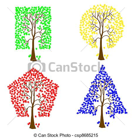 450x470 Trees Of Different Geometric Shapes. Vector Set. Clipart Vector