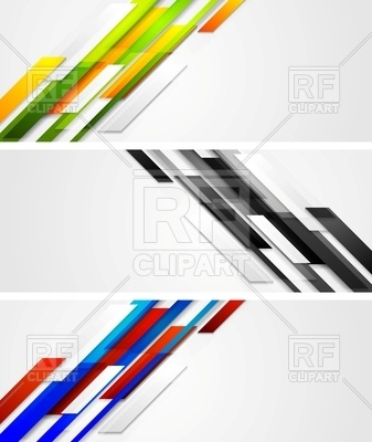 337x400 Abstract Diagonal Banners With Geometric Shapes Royalty Free