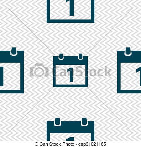 450x470 Calendar Sign Icon. 1 Day Month Symbol. Date Button . Clip Art