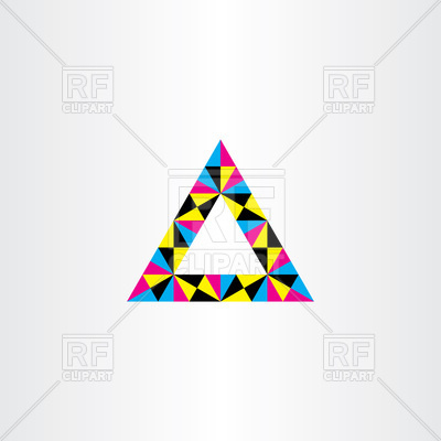 400x400 Geometric Colorful Triangle Frame Royalty Free Vector Clip Art