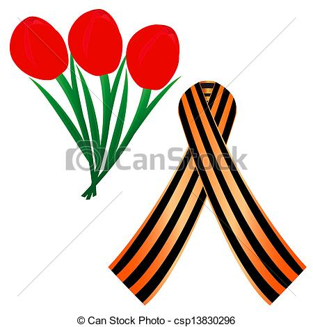 450x470 St. George Ribbon St. George Ribbon And Red Tulips Eps Vectors