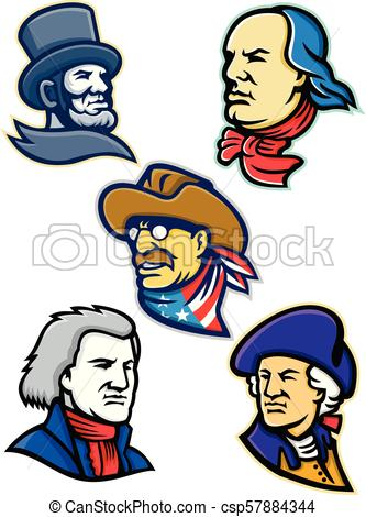 333x470 American Presidents And Statesman Mascot Collection. Mascot Eps