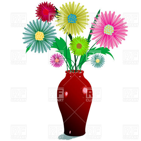 453x453 Bunch Of Flowers In Vase Royalty Free Vector Clip Art Image