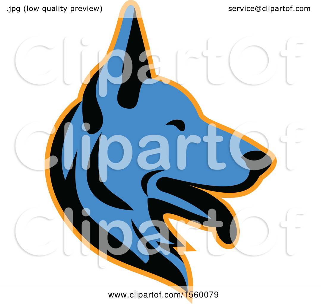 1080x1024 Clipart Of A Retro Blue Alsatian German Shepherd Dog Mascot