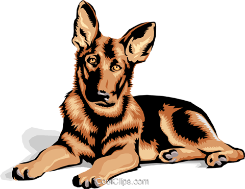 480x370 German Shepard Puppy Royalty Free Vector Clip Art Illustration