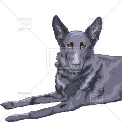 400x400 Black German Shepherd Royalty Free Vector Clip Art Image