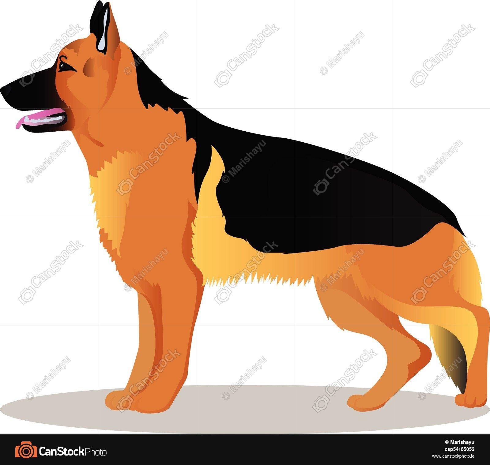 1600x1519 German Shepherd Cartoon Dog. German Shepherd Vector Clipart