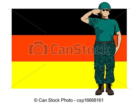 450x337 German Flag And Soldier. Vector Drawing Of A Soldier In Clip