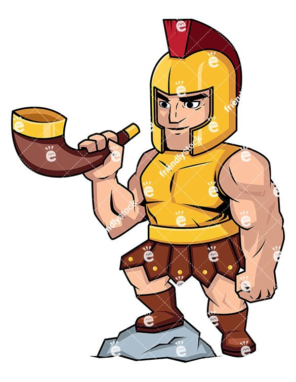585x755 Roman Soldier Blowing A Battle Horn Vector Cartoon Clipart