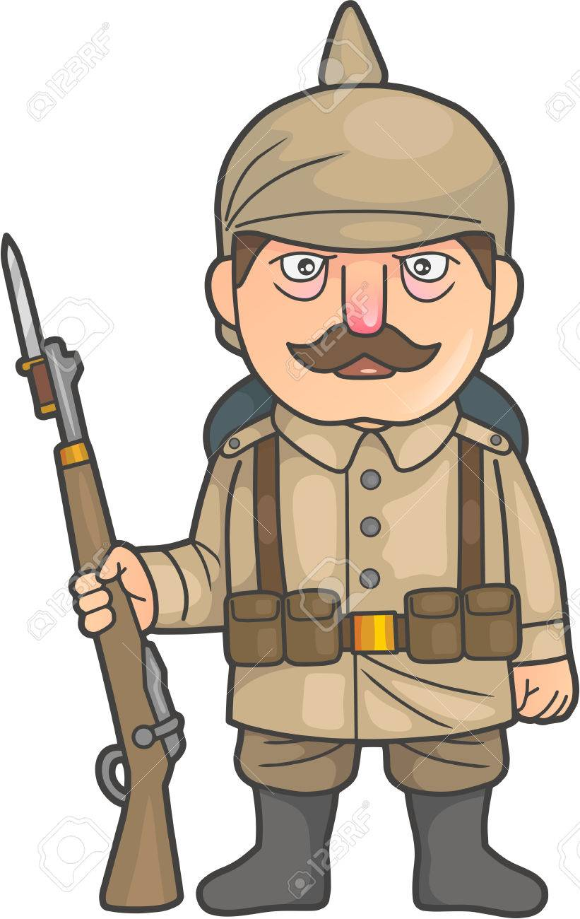 821x1300 Cartoon German Soldier During World War One Royalty Free Cliparts