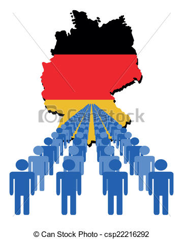 360x470 Lines Of People With Germany Map Flag Vector Illustration Eps