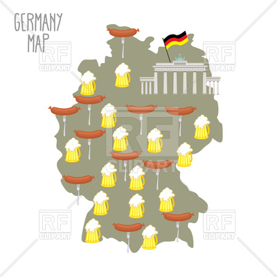 400x400 Map Of Germany, Mug Of Beer And Sausages Royalty Free Vector Clip